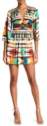 Sky Obama Silk 3/4 Sleeve Leather Detailed Mini Dress