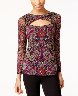 INC International Concepts Paisley-Print Cutout Top, Only at Macy's $49.50 thestylecure.com