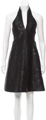 Halston Brocade Halter Dress