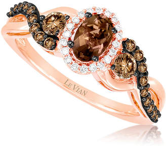 Le Vian Chocolatier LEVIAN CORP Grand Sample Sale by Chocolate Quartz and Chocolate & Vanilla Diamonds Ring in 14k Strawberry Gold