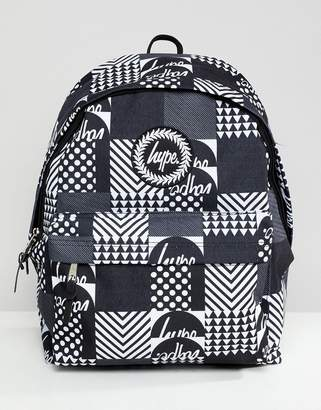 Hype backpack in monochrome geo print