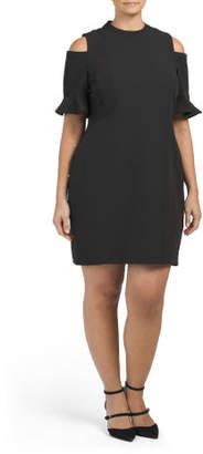 Plus Prado Crepe Cold Shoulder Ruffle Dress