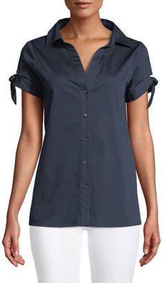 Badgley Mischka Cotton-Blend Blouse w/ Tie Sleeves