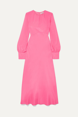 Les Rêveries Gathered Silk Crepe De Chine Maxi Dress - Pink