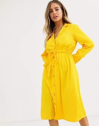 Pieces Linea long sleeve button through midi dress