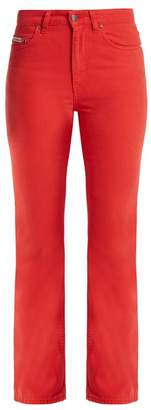 ALEXACHUNG High Rise Bootcut Jeans - Womens - Red