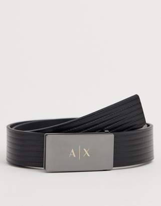 Armani Exchange leather logo buckle belt in black