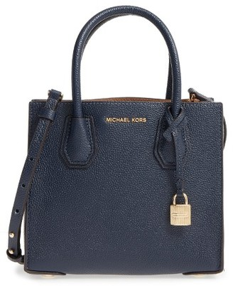Michael Michael Kors Mercer Leather Crossbody Bag - Blue $228 thestylecure.com