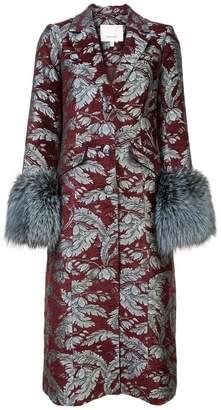 Cinq à Sept long floral print coat