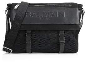 Balmain Embossed Leather Messenger Bag