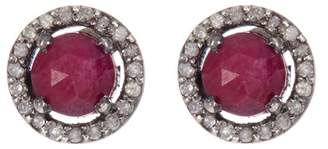 ADORNIA Sterling Silver Echo Ruby & Champagne Diamond Halo Stud Earrings