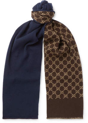Gucci Logo-Intarsia Wool and Silk-Blend Scarf - Navy