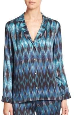 Diamond-Print Silk Pajama Shirt