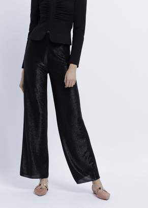 Emporio Armani Palazzo Pants In Viscose Jersey With Matching-Colored Lurex Yarn