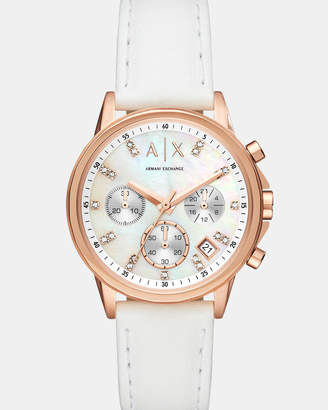 Armani Exchange White Chronograph Watch