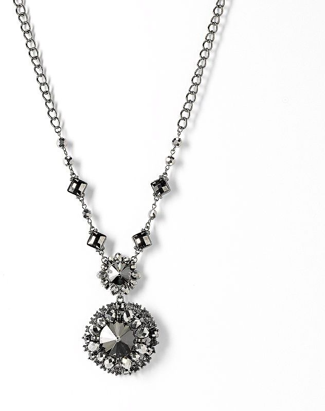 Vera Wang Simply vera jet simulated crystal and bead y necklace