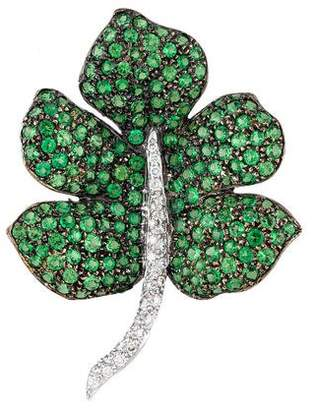 18K Tsavorite & Diamond Leaf Brooch
