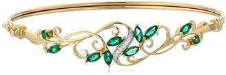 18k Gold Plated Sterling Silver Created Emerald and Cubic Zirconia Filigree Hinged Bangle Bracelet