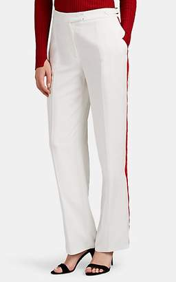 Officine Generale Women's Vera Velvet-Striped Wide-Leg Trousers - White