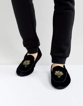 Dunlop Embrioded Loafer Slippers Blue Velvet