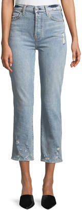 7 For All Mankind Edie Distressed Bleached Denim Straight-Leg Jeans