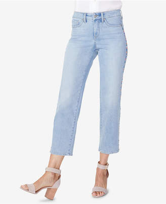 NYDJ Jenna Embroidered Straight-Leg Ankle Jeans