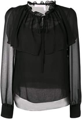 See by Chloe sheer ruffle blouse