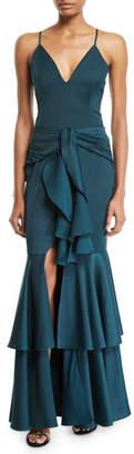 PatBo Patricia Bonaldi Sleeveless Tiered Ruffle Gown Dress