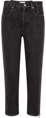 3.1 Phillip Lim Zip-embellished High-rise Tapered Jeans - Black