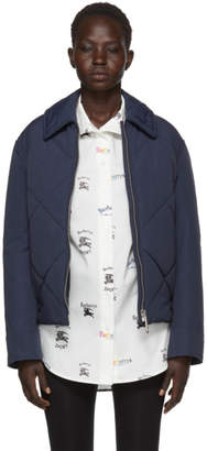 Burberry Navy Quilted Technical Blend Jacket