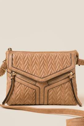 francesca's Susan Vegan Leather Crossbody - Brown