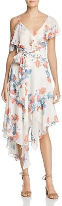Olivaceous Floral Asymmetric Ruffle Dress $108 thestylecure.com