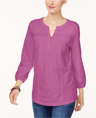Style&Co. Style & Co Petite Lace-Front Henley Top