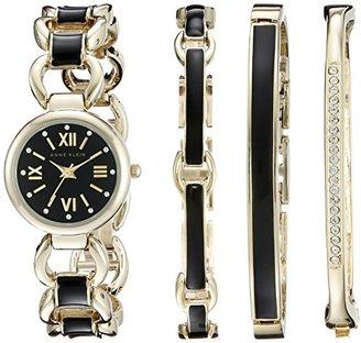 Anne Klein (アン クライン) - Anne Klein Women's AK/1982BKST Swarovski Crystal-Accented Gold-Tone and Black Watch and Bracelet Set アンクライン女性用腕時計 ブレスレットセット