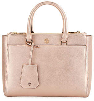 Tory Burch Robinson Small Metallic Saffiano Double-Zip Tote Bag