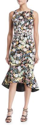 Peter Pilotto Sleeveless Square-Neck Dandelion-Print Cady Dress
