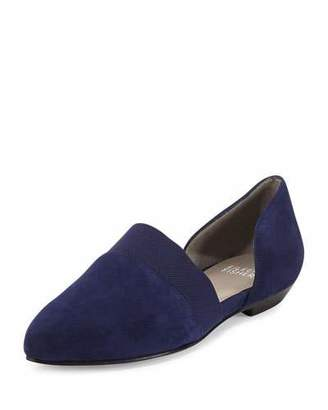 Eileen Fisher Flute Pointed-Toe d'Orsay Flat, Dark Night $198 thestylecure.com