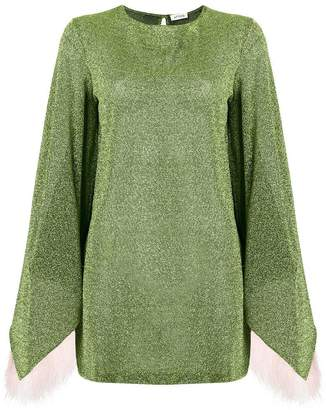 ATTICO feathered sleeve knitted dress
