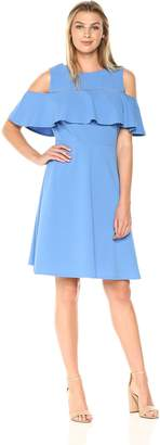 Amy Byer Women's Scuba Crepe Cold Shoulder Fit N Flare Dress