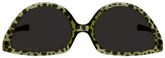 Martine Rose Green and Black Mykita Edition Leopard SOS Sunglasses