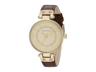 Anne Klein 109168IVBN Round Dial Leather Strap Watch