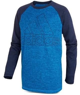 adidas Boys' Long-Sleeve Logo Performance Tee - Little Kid, Big Kid