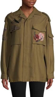 Valentino Embellished Patch Military Jacket