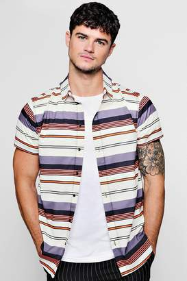 boohoo Horizontal Stripe Crepe Short Sleeve Shirt