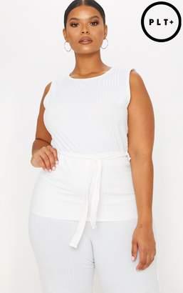 PrettyLittleThing Plus Cream Rib Tie Waist Vest Top