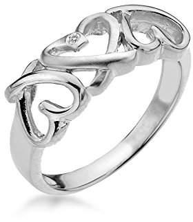 01dc86c4011e2 ... Lily   Lotty Rhodium Plated 925 Sterling Silver Hand Set Diamond  Juliette Triple Heart Ring -