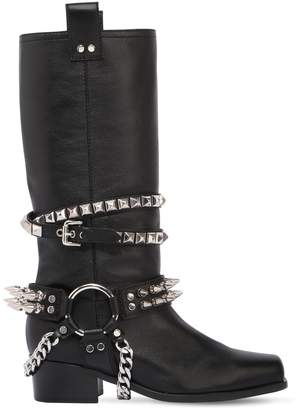 Moschino 40mm Studded Leather Boots