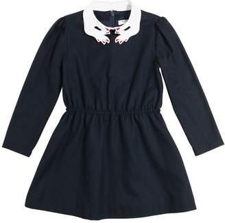 Hand Collar Viscose Flannel Dress