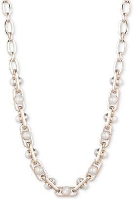 """DKNY Gold-Tone Link & Imitation Pearl Collar Necklace, 16"""" + 3"""" extender, Created for Macy's"""