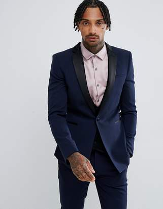 Asos DESIGN super skinny tuxedo suit jacket in navy